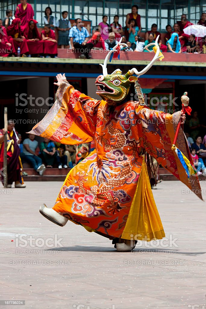 Buddhist Monk with Mask during Festival Sikkim stock photo