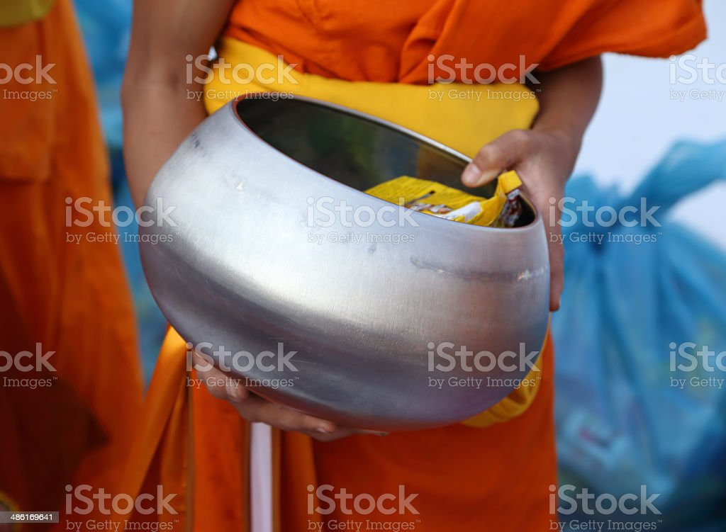 Buddhist monk's alms bowl stock photo