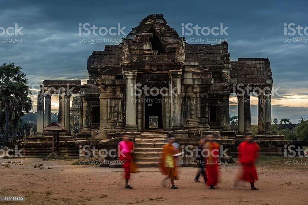 Buddhist Monks Angkor Wat Cambodia stock photo
