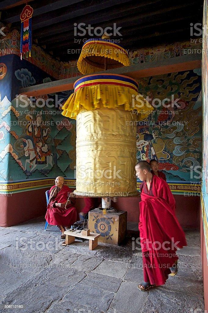 Buddhist monks at the Punakha Dzong, Punakha, Bhutan stock photo