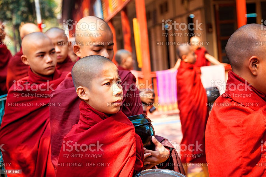 Buddhist Monks begging for food royalty-free stock photo