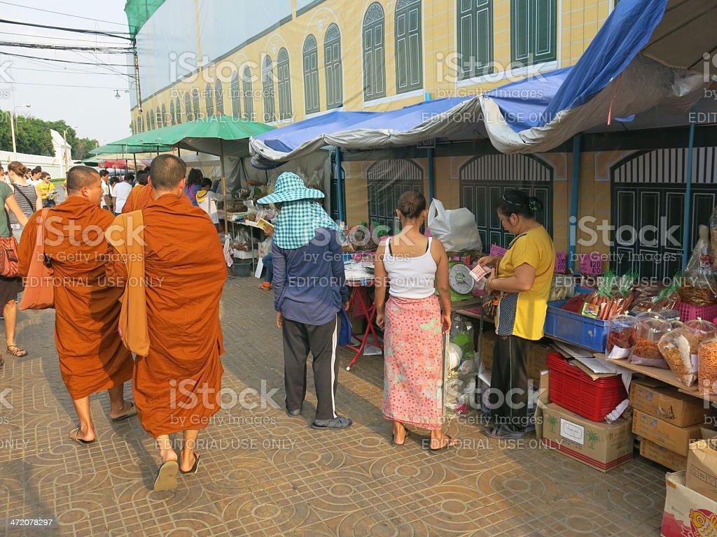 Buddhist monks n Thailand stock photo