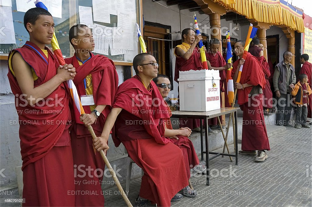 Buddhist monks take part at puja ceremony in Leh, India. royalty-free stock photo