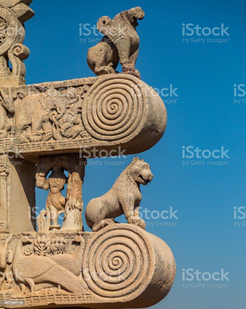 buddhist monuments at sanchi stock photo