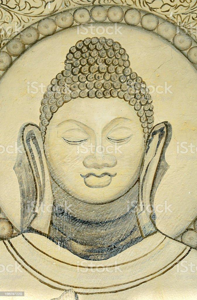Buddhist mural, near temple in Sarnath royalty-free stock photo