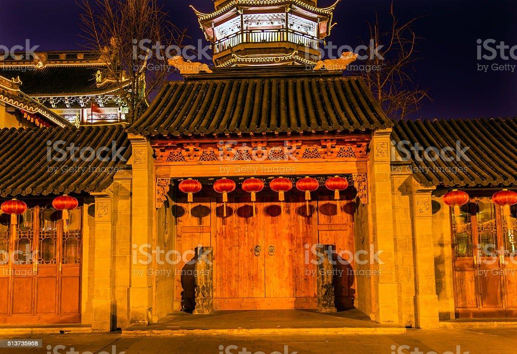 Buddhist Nanchang Temple Wooden Door Pagoda Wuxi Jiangsu China stock photo