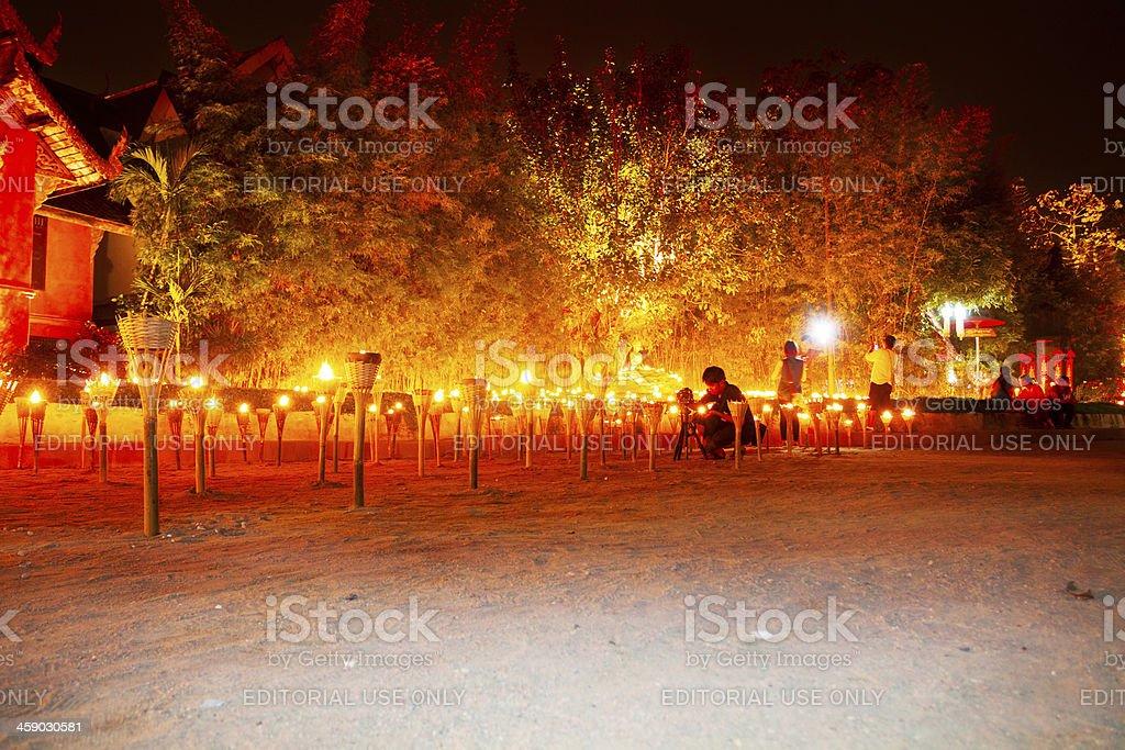 Buddhist night ceremony royalty-free stock photo