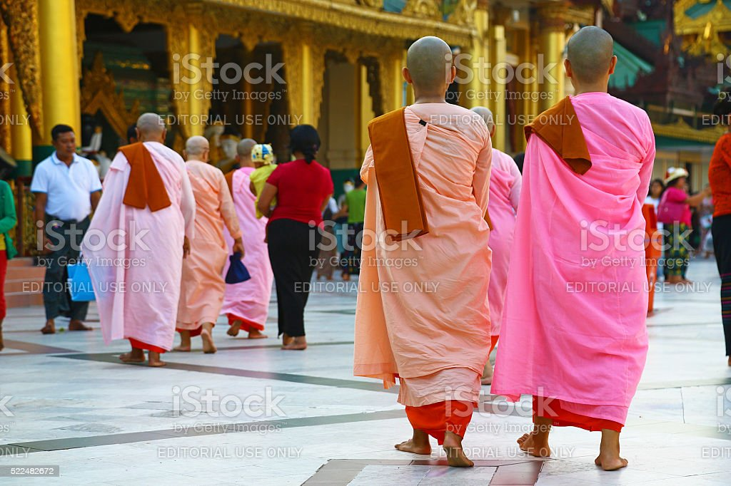 Buddhist nuns in temple stock photo