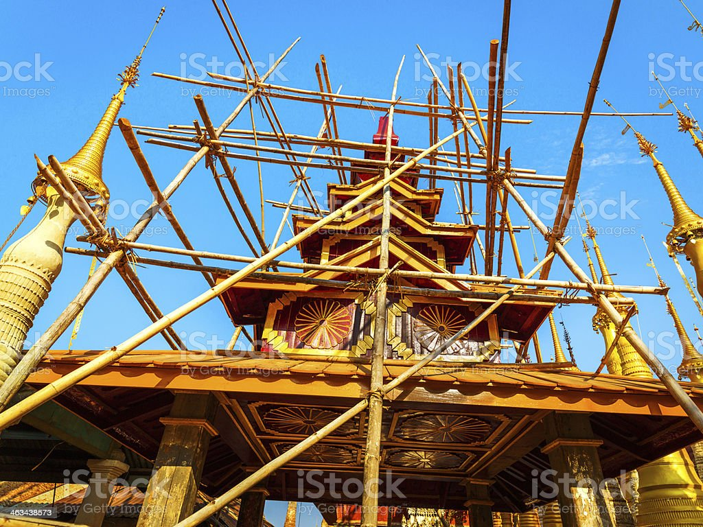 Buddhist pagodas of Indein, Myanmar royalty-free stock photo