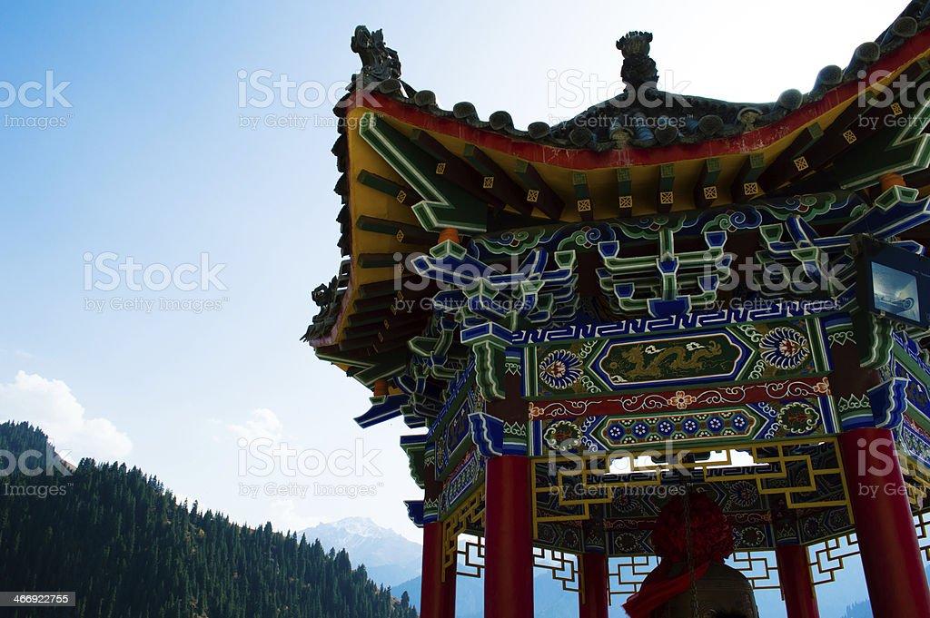 Buddhist Pavilion on the mountain stock photo