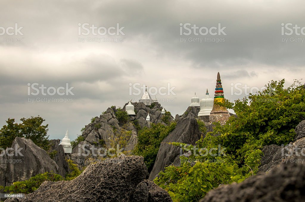 Buddhist peak monastery in Thailand stock photo