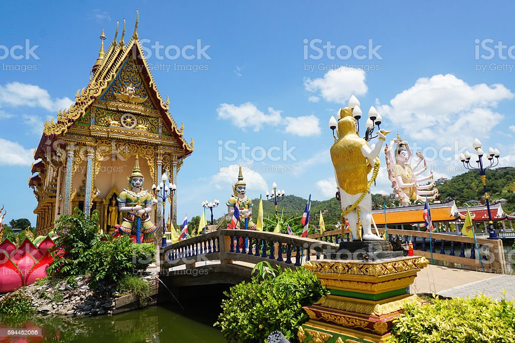Buddhist Plai Laem temple at Samui island stock photo