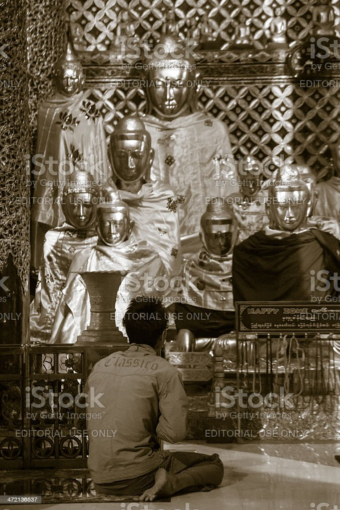 Buddhist Pray in Shwe Dagon Pagoda royalty-free stock photo