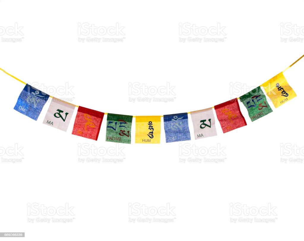 bandera de oración budista stock photo