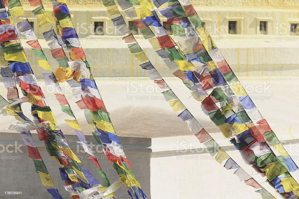 Buddhist prayer flags. Boudhanath-Bodhnath stupa. Kathmandu-Nepal. 0317 royalty-free stock photo