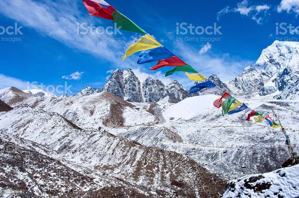 Buddhist prayer flags in the Himalaya mountains, in Nepal stock photo