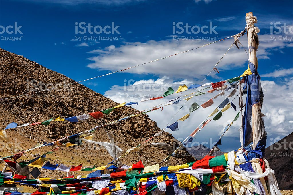 Buddhist prayer flags lungta stock photo
