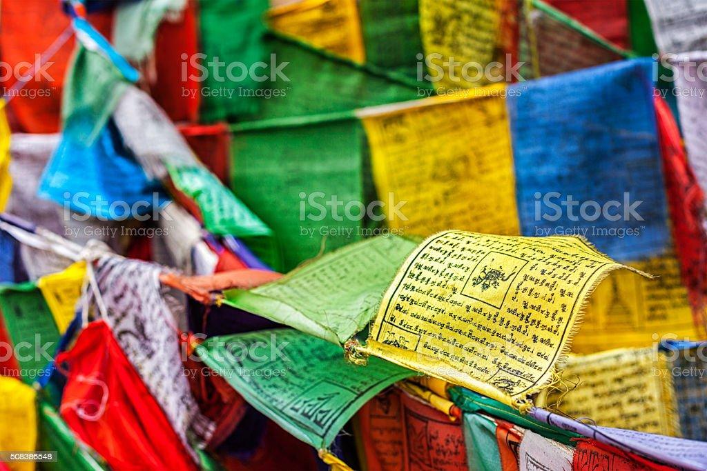 Buddhist prayer flags lungta with prayers, Ladakh stock photo