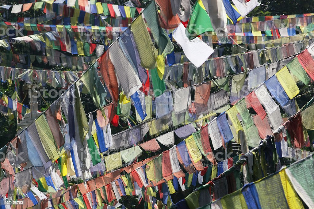 Buddhist prayer flags royalty-free stock photo