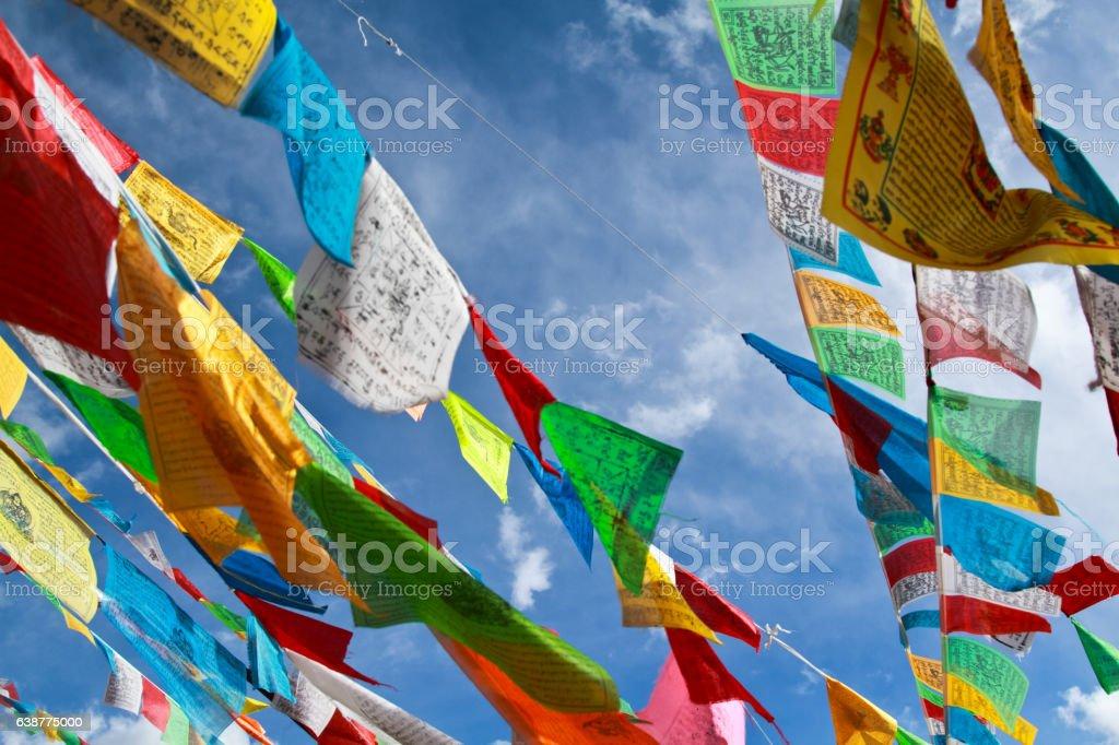 Buddhist prayer flags stock photo