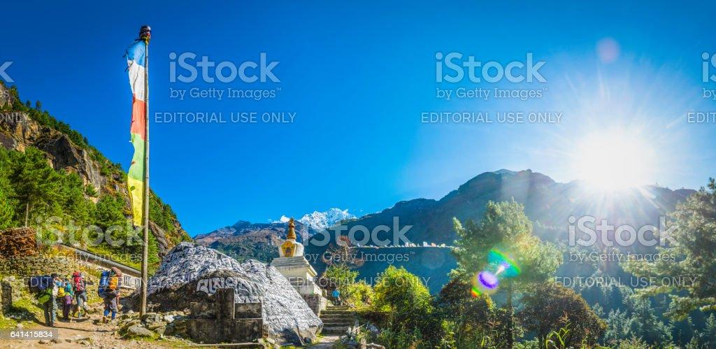 Buddhist prayer flags stupa Everest trail Himalaya mountains panorama Nepal stock photo