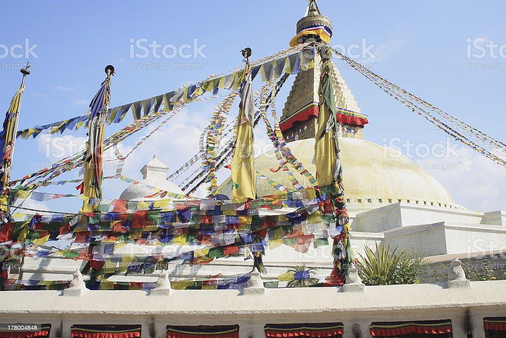 Buddhist prayer flags. Stupa of Boudhanath-Bodhnath. Kathmandu-Nepal. 0310 stock photo