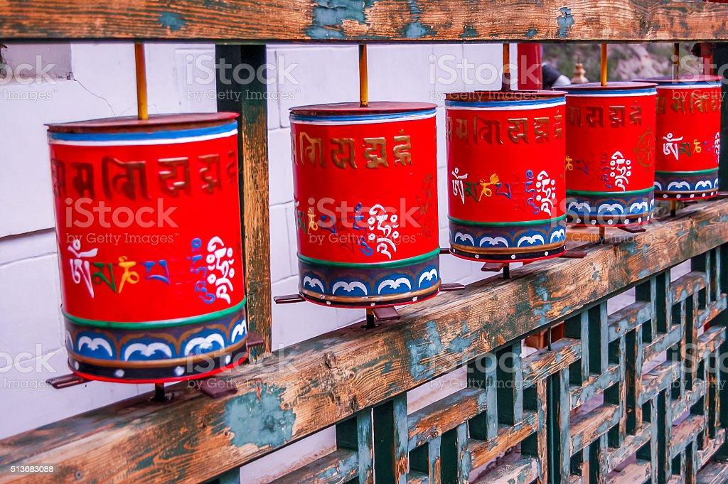 Buddhist prayer wheels at Mongolian meditation center stock photo
