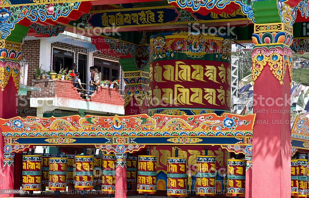 Buddhist Prayer Wheels, elaborately decorated, Tawang, Arunachal Pradesh, India stock photo