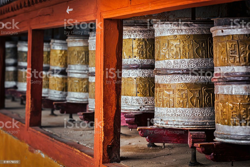 Buddhist prayer wheels in Hemis monstery, Ladakh stock photo