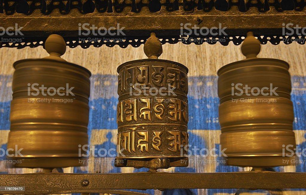 Buddhist prayer wheels in Swayambhunath royalty-free stock photo