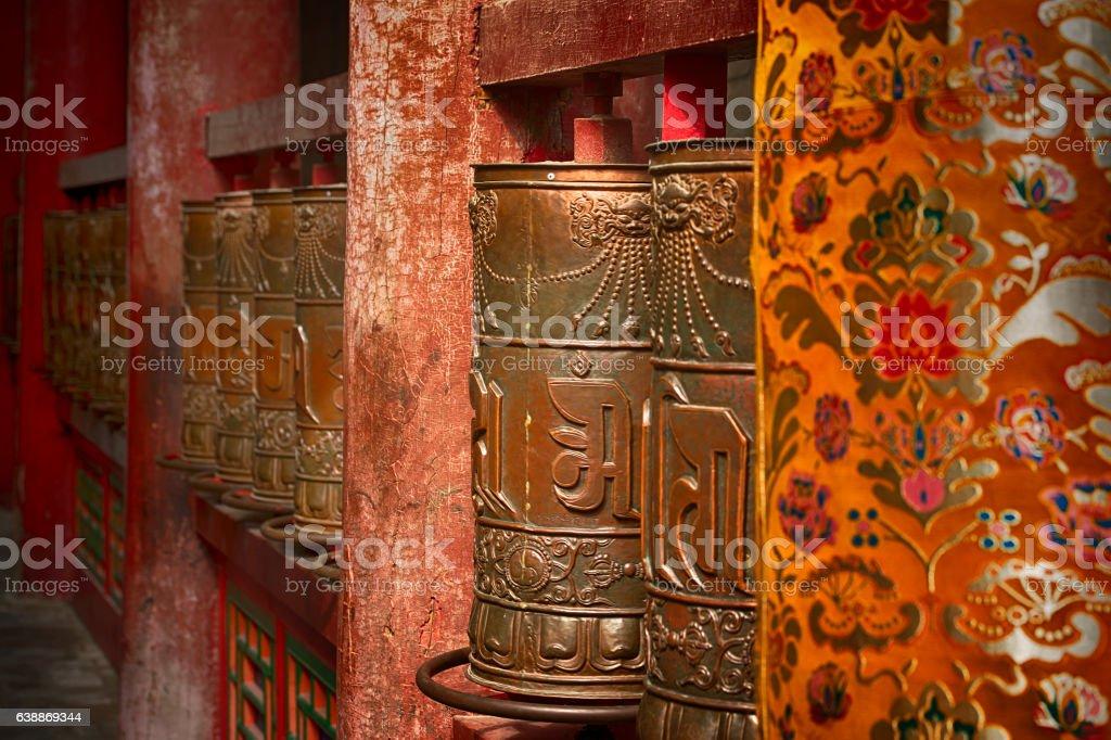 Buddhist prayer wheels in Tibet stock photo