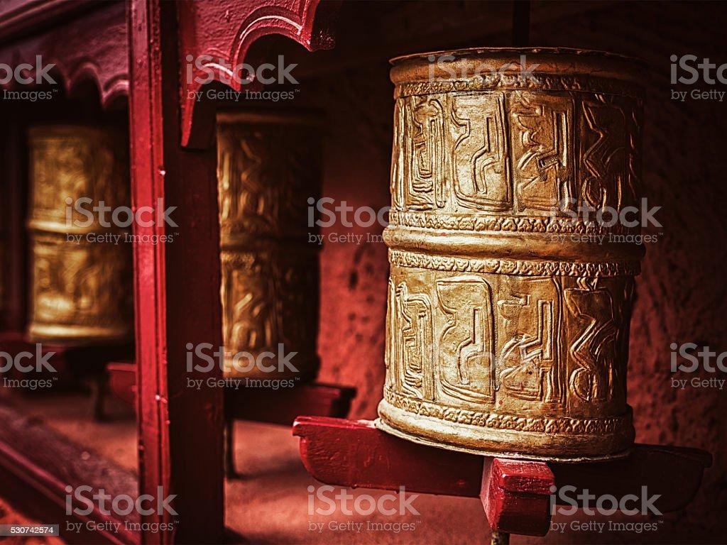 Buddhist prayer wheels , Ladakh stock photo