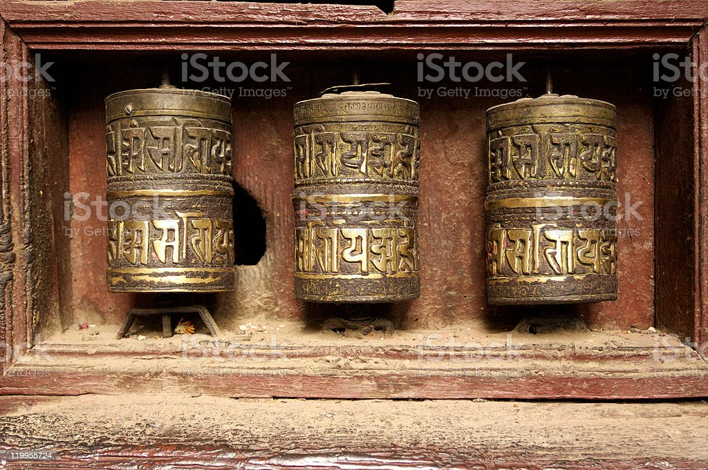 Buddhist prayer wheels royalty-free stock photo
