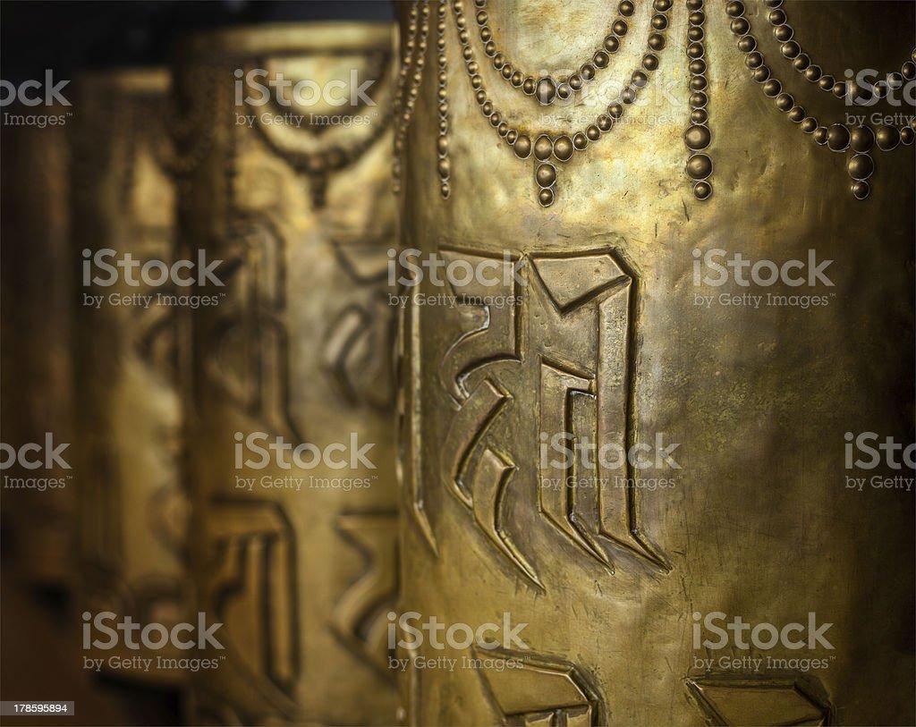 Buddhist prayer wheels royalty-free stock photo