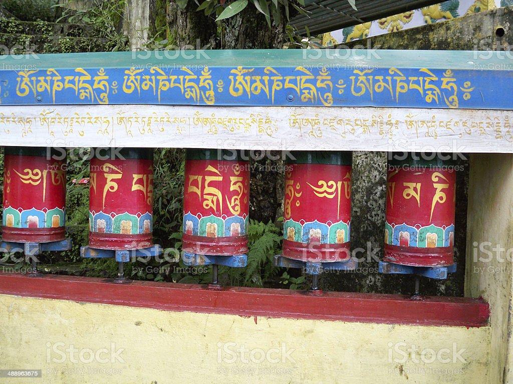 Buddhist Prayer wheels stock photo