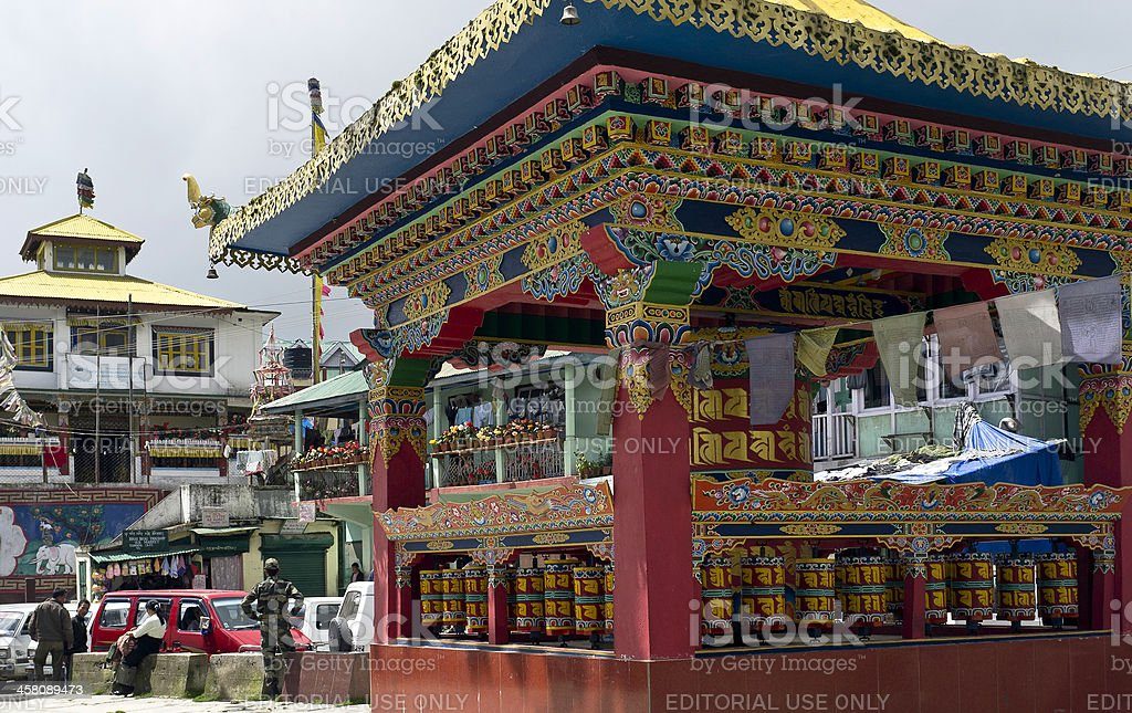 Buddhist Prayer Wheels, Tawang, Arunachal Pradesh, India stock photo