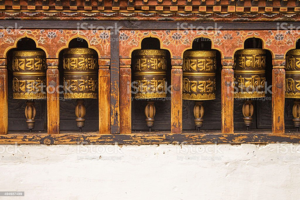 Buddhist Praying wheels royalty-free stock photo
