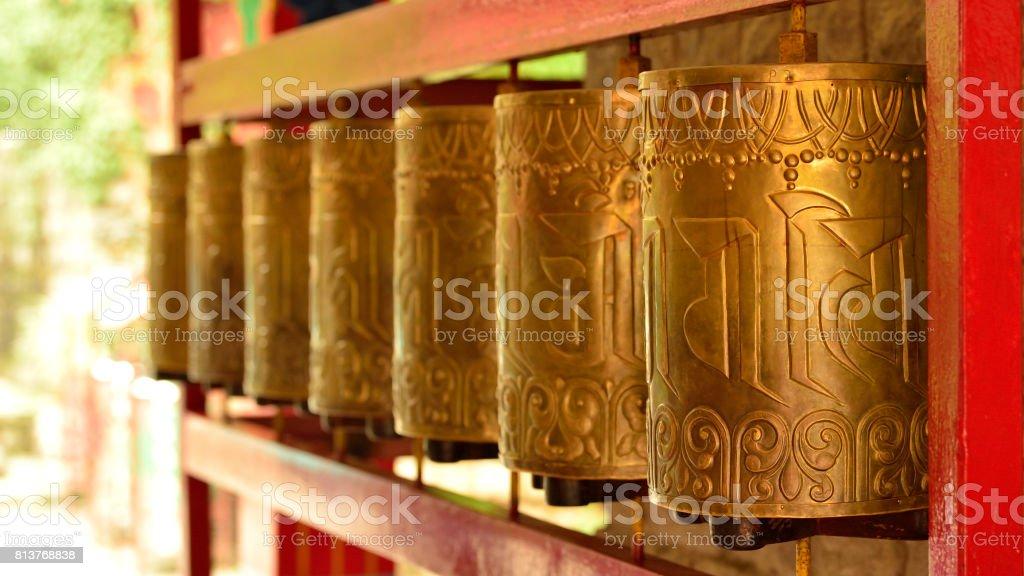 Buddhist Praying Wheels stock photo
