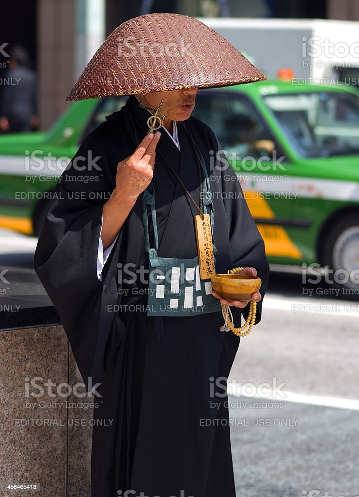 Buddhist priest, Tokyo, Japan royalty-free stock photo