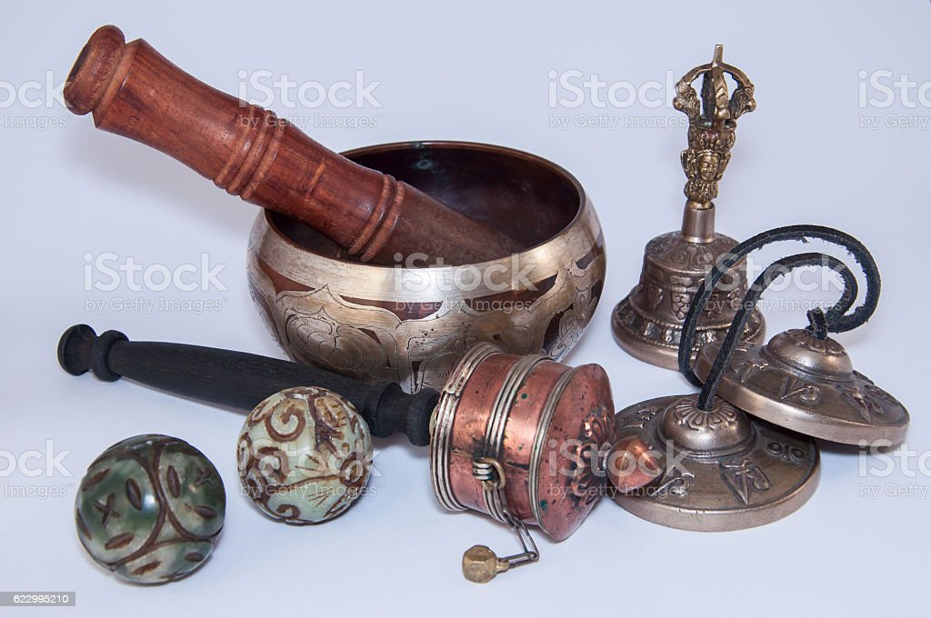 Buddhist religious objects for the  rituals stock photo