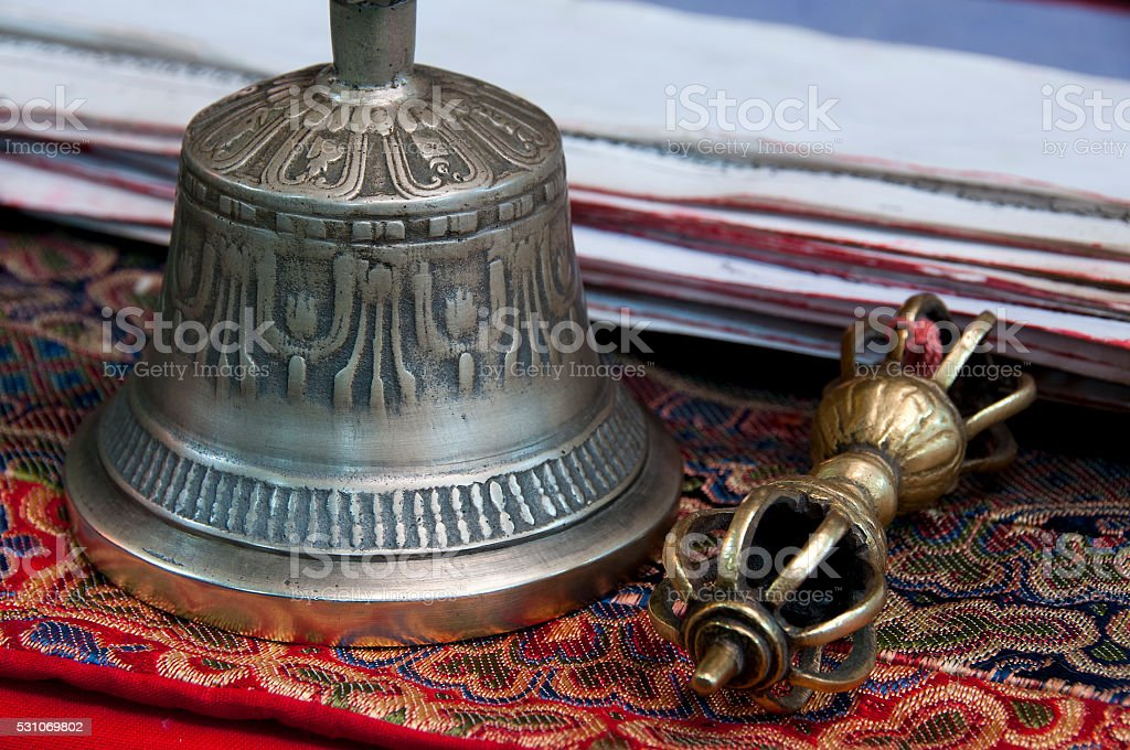 Buddhist religious Vajra Dorje and bell stock photo