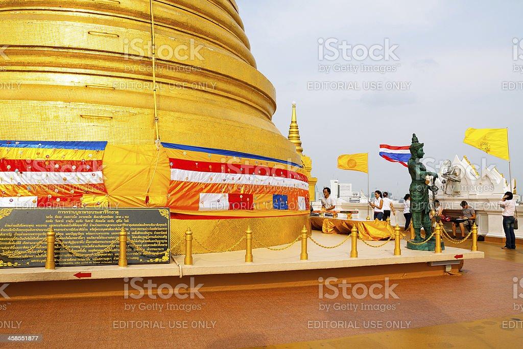 Buddhist scene in Wat Saket stock photo