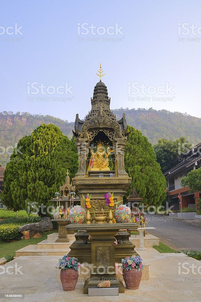 Buddhist Shrines At The Greenery In Tahiland royalty-free stock photo