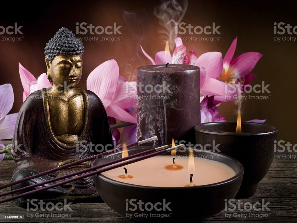 A Buddhist spa and aromatherapy concept royalty-free stock photo