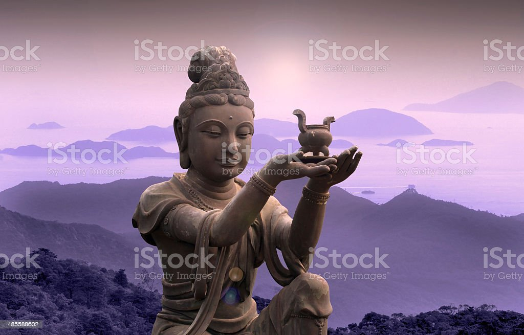 Buddhist statue at Po Lin Monastery - Lantau Island. stock photo