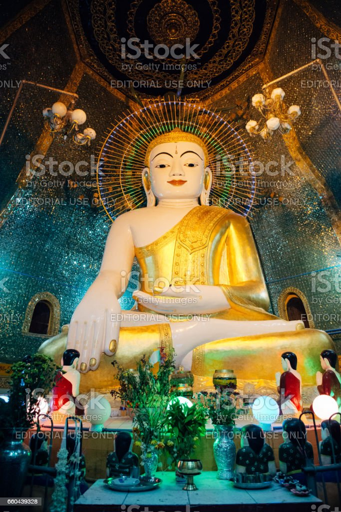 Buddhist statue inside pagoda on Sagaing Hill stock photo
