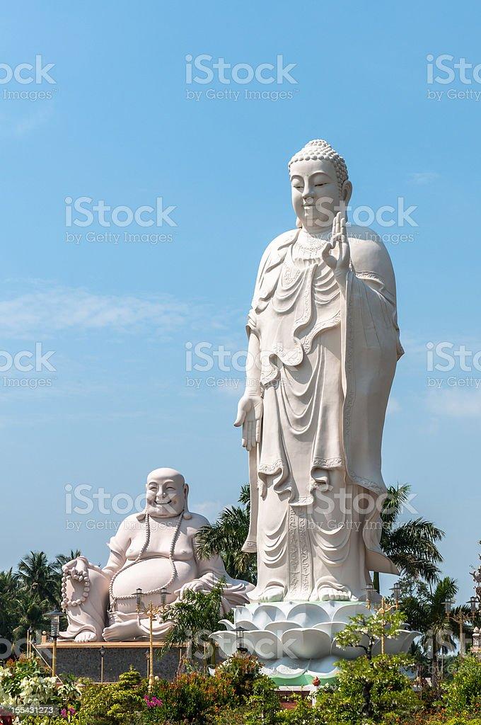 Buddhist Statues At Vinh Trang Pagoda In My Tho, Vietnam stock photo
