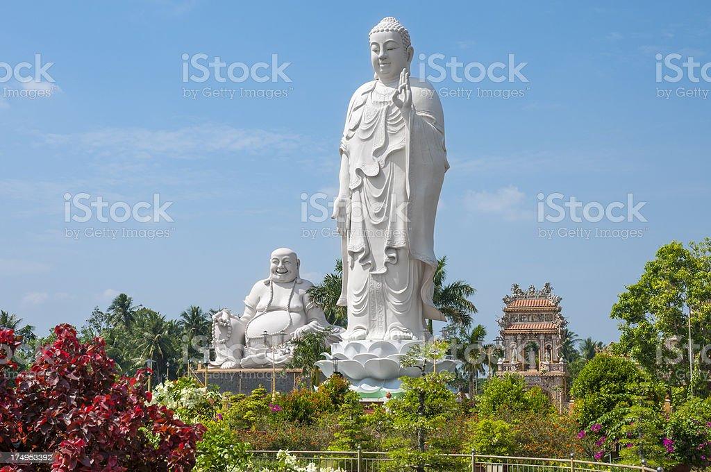 Buddhist Statues At Vinh Trang Pagoda In My Tho, Vietnam royalty-free stock photo