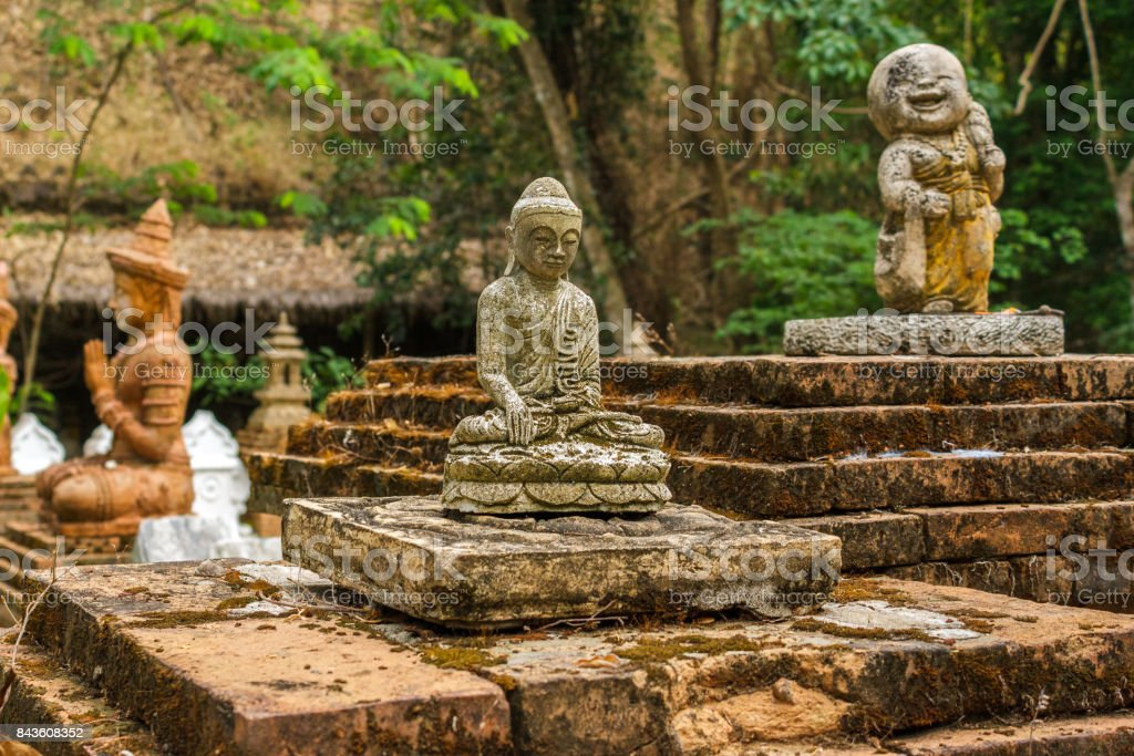 Buddhist statues at Wat Pha Lat in Chiang Mai, Thailand stock photo