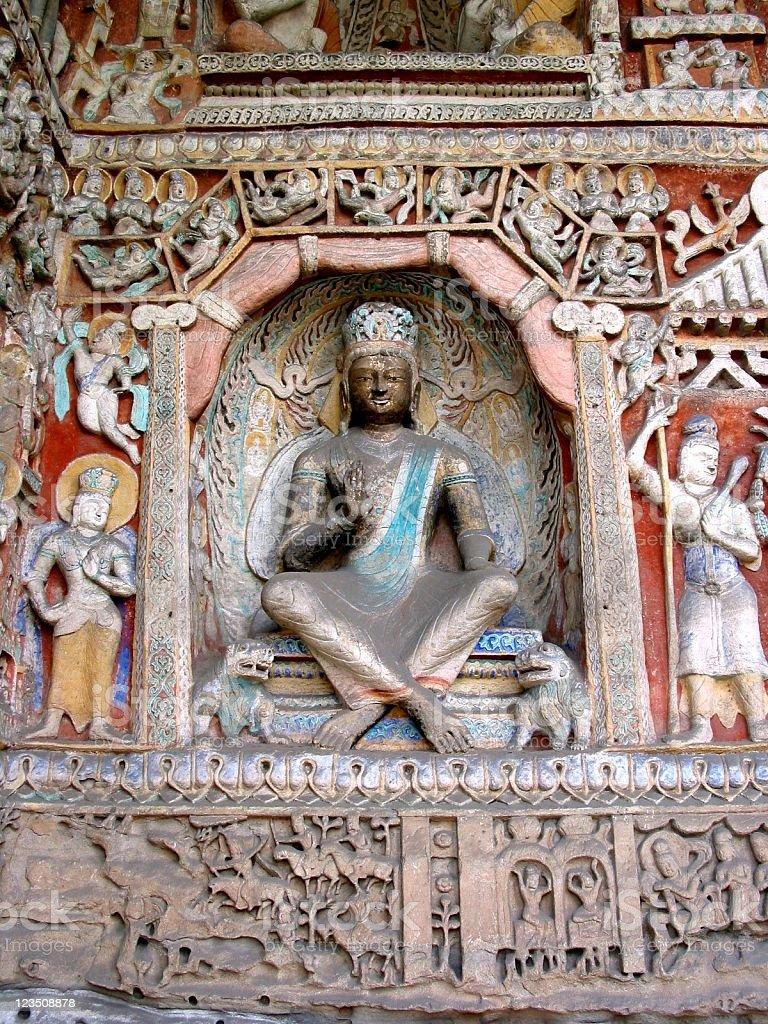Buddhist stone carving stock photo